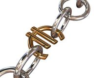 Euro chain on white Royalty Free Stock Photos