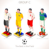 EURO 2016 Championship GROUP C. France EURO 2016 Championship Infographic Qualified Soccer Players GROUP C. Football Game Jersey flags of final participating Royalty Free Stock Photo