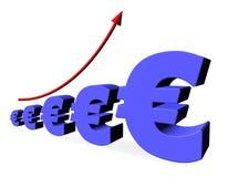 Euro Chart. Blue euro symbols in 3d chart illustration Royalty Free Stock Image
