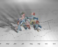 Euro chart. Little people made out of euros sitting on a chart Stock Image