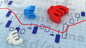 Euro chart. Euro currency symbols lying on trading chart Royalty Free Stock Image