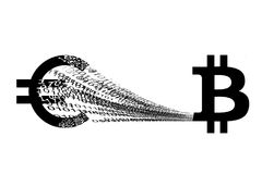 Euro che è digitalizzato nel bitcoin Fotografia Stock