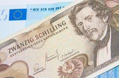 Euro - chelín - mejore antes o después de fotografía de archivo libre de regalías
