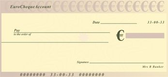 Euro cheque. A generic cheque design in euro currency stock illustration