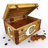 Euro Chest Of Coins Shows European Prosperity Royalty Free Stock Images
