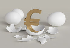 Euro chicken from egg Royalty Free Stock Images