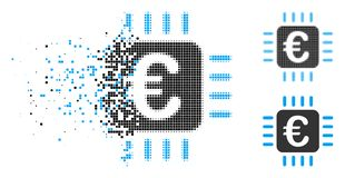 Broken Dot Halftone Euro Chip Icon. Euro chip icon in dispersed, pixelated halftone and original variants. Particles are grouped into vector dispersed Euro chip stock illustration