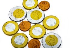 Euro chocolate coins Royalty Free Stock Image