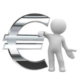 Euro chrome symbol. 3d little human keep a chrom euro symbol Stock Photography