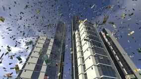 Euro chute d'argent des bâtiments d'affaires Image libre de droits