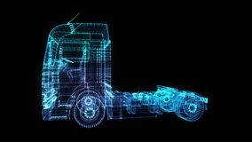 Euro ciężarówka Łuna punkty, linia i siatki formacja 3d model, Przewożą samochodem 4K animacja Pętla bezszwowa ilustracji