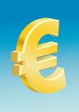 Euro - cielo azul europeo del símbolo de dinero en circulación Imagenes de archivo