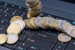 Euro cin on laptop, business concept Stock Photography