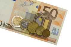 Euro cinqüênta com moedas Imagens de Stock