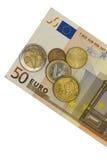 Euro cinqüênta com moedas Imagens de Stock Royalty Free