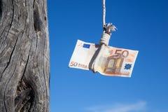 Euro cinquante accrochant Photo libre de droits