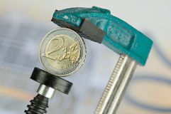 Euro in clamp Stock Photos