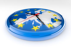 Euro Clock Crisis. Euro crisis concept created in 3D. A clock with the center of the hands in Germany and the hands pointing to countries with problems:  Ireland Stock Photography