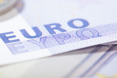 Euro close-up op Griekse brieven Stock Foto