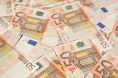 50 euro. Closeup of the 50 euro banknotes Royalty Free Stock Photography