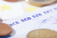 Euro closeup on ECB abbreviation Stock Photo