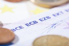 Euro closeup on ECB abbreviation Stock Photo
