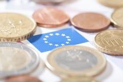 Euro closeup on EU flag Stock Photos