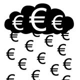 Euro cloud. Vector / illustration. Raining with euros from euro cloud Royalty Free Stock Images