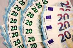 Close up of 20 Euro cash notes royalty free stock photo