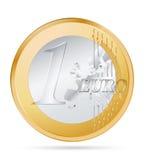 Euro coin. Vector one euro coin on white Royalty Free Stock Photo