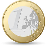 Euro coin. On a white background Stock Photos