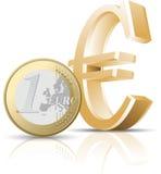 Euro coin. On a white background Royalty Free Stock Photos