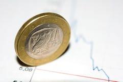 Euro coin. Greece euro coin on a crashing chart background Stock Image