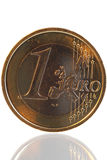 Euro coin. With reflections in golden light Stock Photo