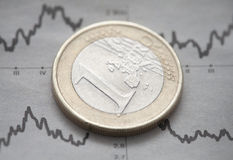 Euro coin. One Euro coin on newspaper chart Stock Photos