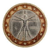 Euro coin. Two Euro coin, isolated on the white background. Vitruvian Man, Leonardo da Vinci royalty free stock images
