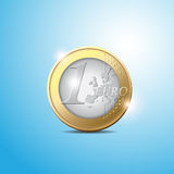 Euro coin. One euro coin vector on blue background Royalty Free Stock Photo
