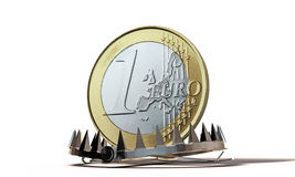 Euro coin. In a bear trap Royalty Free Stock Photos