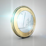 Euro coin. Shiny euro coin on neutral background Stock Image