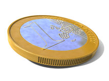 Euro Coin. One 3d Euro coin with white background Stock Photos