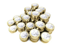 Euro coin 3d. Pile of 3d euro coin on white background Royalty Free Stock Photo