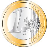 Euro Coin. A vectorial 1 Euro Coin Royalty Free Stock Photo