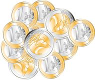 Euro Coin. Group of Euro coins. Very High Resolution. Vector available Stock Images