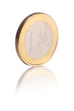 Euro coin. Isolated over white background with reflection Royalty Free Stock Photo