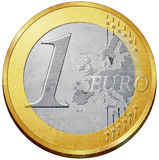 Euro coin. One euro coin illustration with metal texture Royalty Free Stock Photography