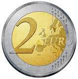 Euro coin. Two euro coin illustration with metal texture Royalty Free Stock Images