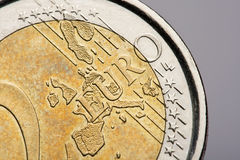 Euro Coin. A Two Euro coin in close-up detail Stock Photos