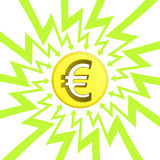 Euro coin in arrow zigzag circle vector Stock Photos