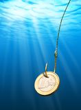 Euro coin bait. Euro coin on the hook underwater Royalty Free Stock Photography
