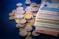 euro coin and banknote isolated Royalty Free Stock Photo